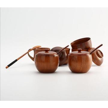 1PC Spice Jar Seasoning Can Sugar Bowl With Lid Spoon Wood Spice Box Kitchen Tool Salt Storage Box Kitchen Sugar Pot LC 031