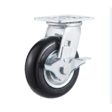 8inch Swivel Black Round PU with Steel Cover Castors With Side Brake