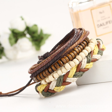 Multilayer Braided Leather Bracelet Wooden Beads Friendship Bracelet