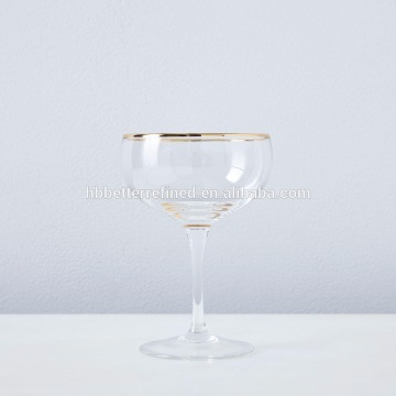 Metallic Gold Rimmed Champagne Coupes