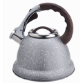 Silver marble whistling stovetop tea pot kettle