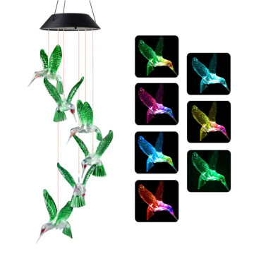 Waterproof LED Solar Hummingbird Garden Wind Chime