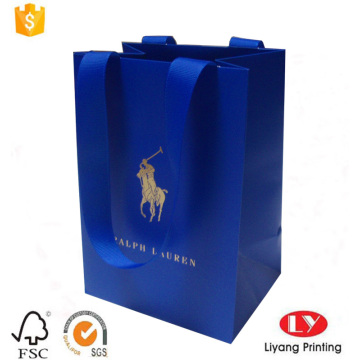Custom blue printed jewelry paper packaging bag