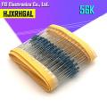 100PCS 56K ohm 1/4W 1% Metal film resistor 0.25W 1/4w resistance