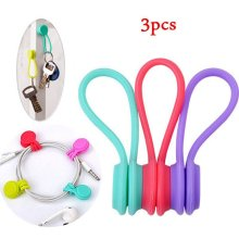 3 Colors Soft Silicone Magnetic Wire Cable Organizer Key Cord Earphone Storage Holder Clips Cable Winder For Data Cable