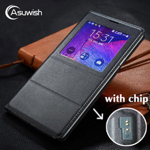 Asuwish Flip Cover Leather Case For Samsung Galaxy Note 4 Note4 N910 N910F N910H Phone Case Cover Smart View With Original Chip