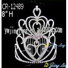 8 Inch Fashion Rhinestone Tall Pageant Crowns