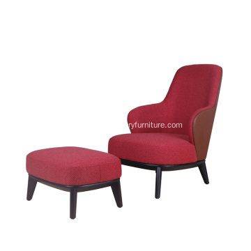 Modern Style Red Leslie Highback Fabric Armchair