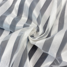 100% Polyester Stripe Jacquard Organza Fabric for Dress