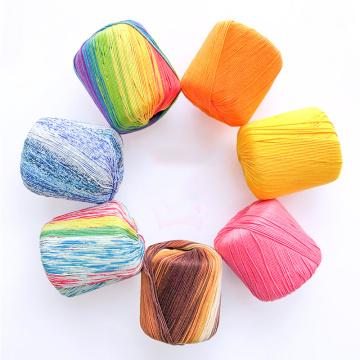 50g/ball Worsted Fancy Section-dyed Rainbow Lace Yarn 100% Cotton for DIY Hand Knitting Crochet Shawl Scarf Thread summer Yarns
