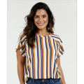 female lace on the shoulder top stripe blouse
