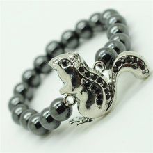 Hematite 8MM Round Beads Stretch Gemstone Bracelet with Diamante alloy squirrel Piece