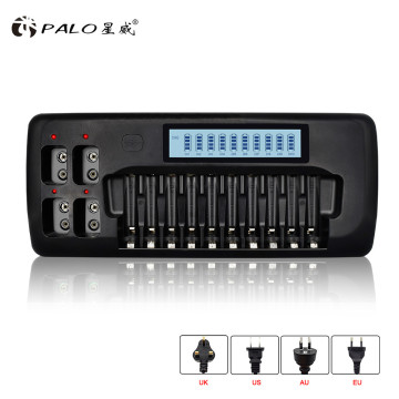 14 slots intelligent LCD battery Charger for 1.2v NICD NiMH AA AAA Rechargeable battery 9v rechargeable battery 9v