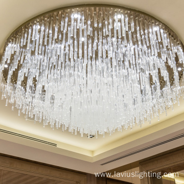 Elegant hotel big round gold crystal led light