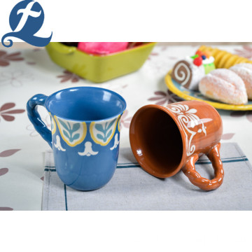 Wholesale Fashion Colorful Custom Hand Painting Ceramic Tea Cup With Handle