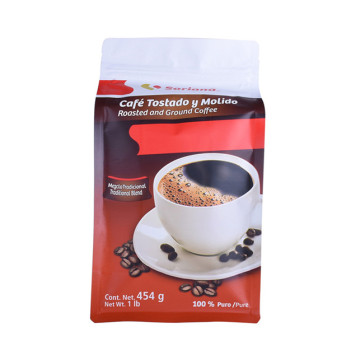 Compostable PLA Coffee bag with top zipper Box bottom