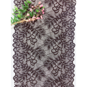 Fashion Black Leaf Jacquard Lace Trim for Lingerie