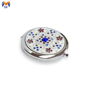 Metal hand small rhinestone pocket mirror