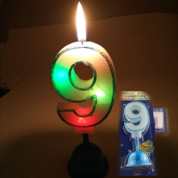 customized LED flash light number birthday candle