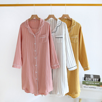 Crepe cotton Pullover home casual pajamas dress