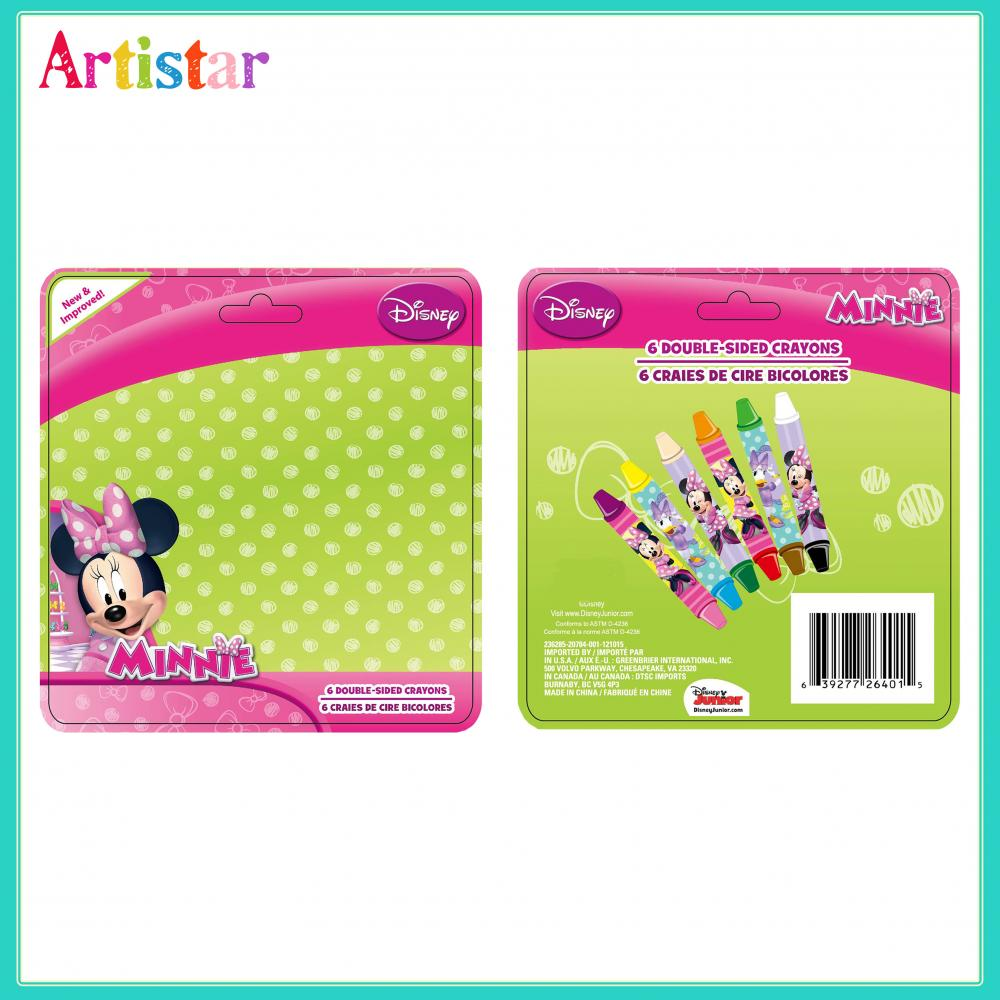 Disney Minnie Mouse Blister Card 6 Double Sided Crayons 2