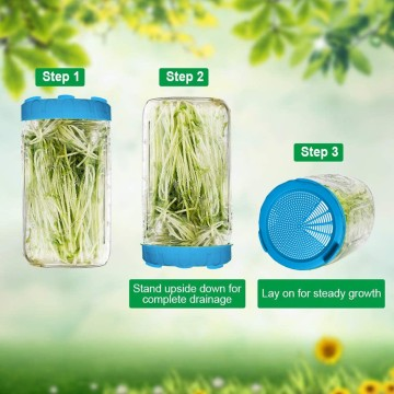 Food Grade Mesh Sprout Cover Kit Seed Crop Germination Vegetable Silicone Sealing Ring Lid For Mason Jar #J20