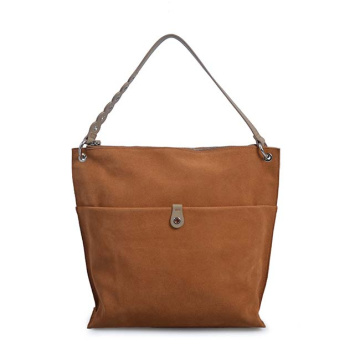 DONNA KARAN Columbus Leather Bucket Bag Tan Color