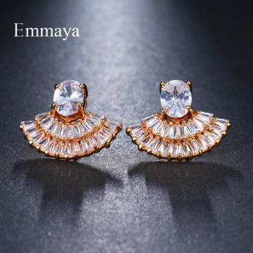 Emmaya Shiny Stud Earrings 6 Colors for Women Sectoral Jewelry Fashion Blossom Boucle D'oreille Femme Wedding Gift