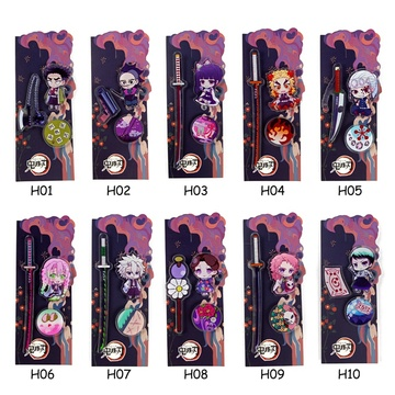 3Pcs/set Demon Slayer Kimetsu Ghost Blade Kidney Bean Cosplay Badge Cartoon Collection Backpacks Bags