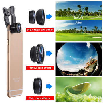 phone Back cover Lens 3 In 1 Lenses Wide Angle Lens For IPhone Xiaomi Huawei Macro Lenses Camera Kits Mobile Phone Clip Lens