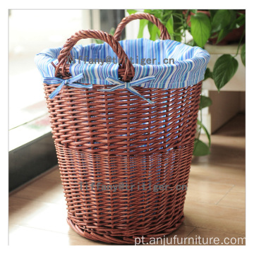 Wholesale folding duals handle willow wicker basket for home storage