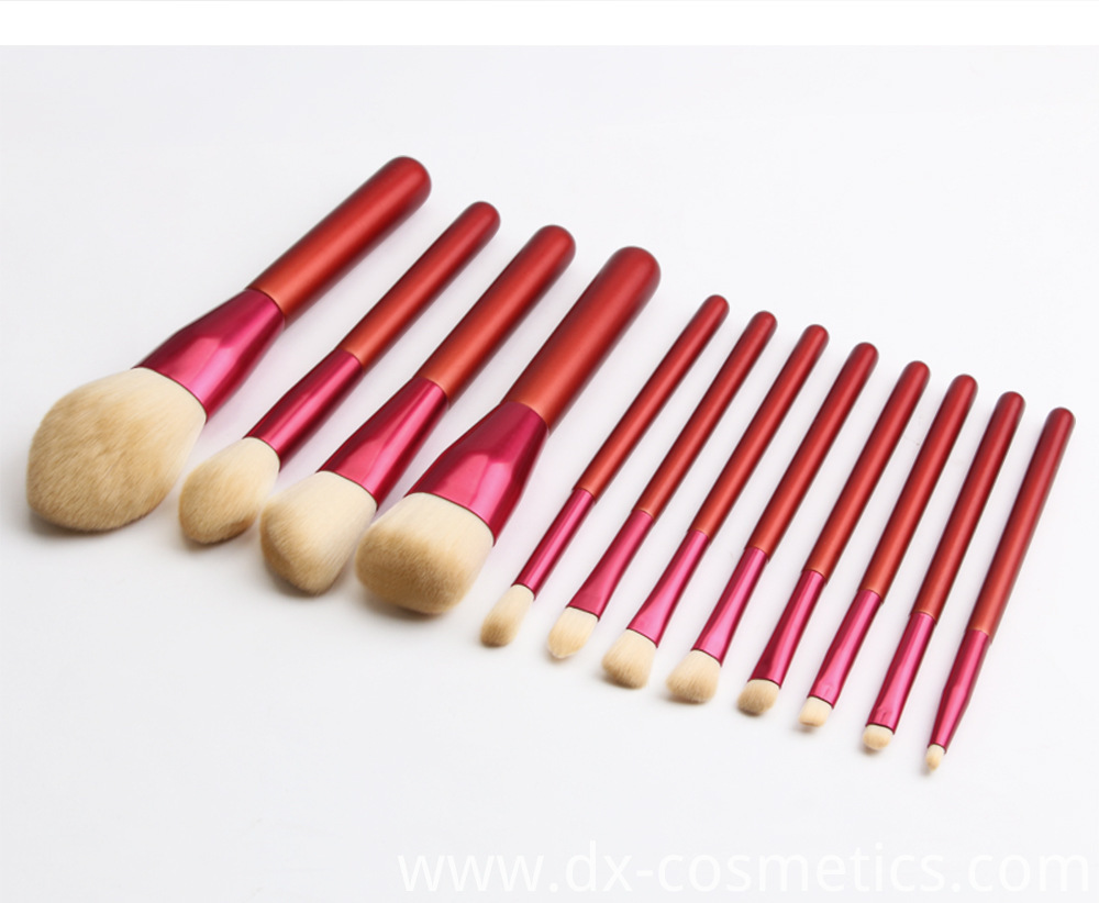 12 PCS Red Handle Makeup Brushes Set Size 9
