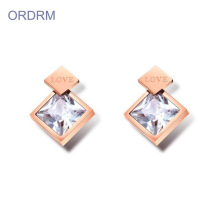Trendy Square Shaped Stone Stud Earrings