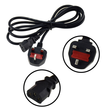 UK Plug With Fuse Cable C13 Power Cord