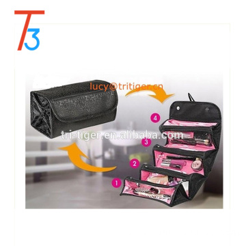 Travel Cosmetic Bag Roll up Makeup Toiletry Bags Organizer with Four Compartments