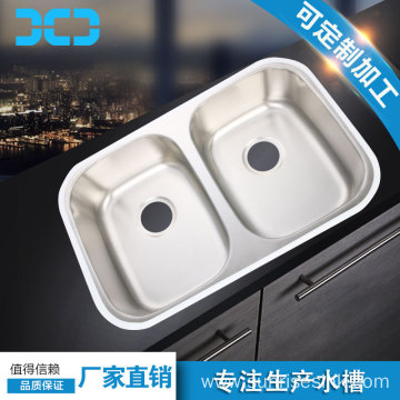 Stainless steel double sink kitchen wash basin
