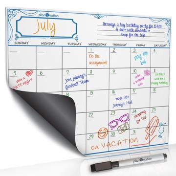 Fridge magnetic paper calendar for school
