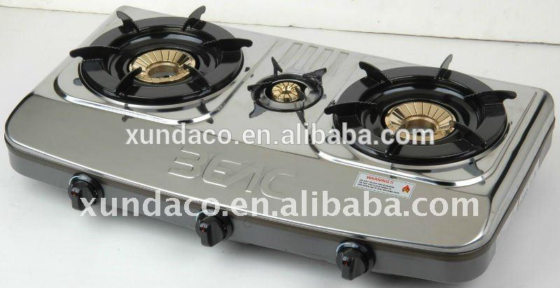 Stainless Steel 3 Burner Gas Stove for Kitchen