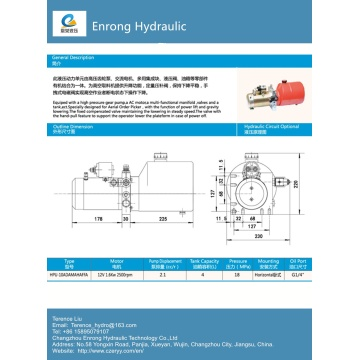 Hydraulic power pack single acting for dumper
