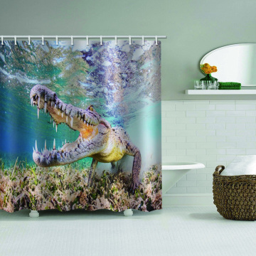 Crocodile Waterproof Shower Curtain Underwater Animal Bathroom Decor