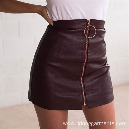 Women Party Skirt New Fashion Summer PU Skirt