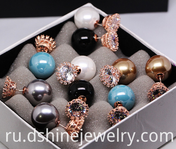 Zircon Crown Shell Pearl Earring