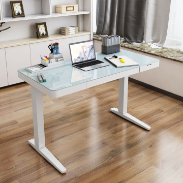 Electrical Height adjustable Standing tables with glass top