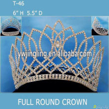 Full Round Crown Silver Pageant Crowns T-46