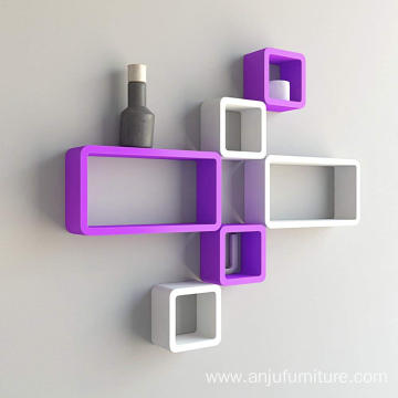 Shelves wood wall   Wall Shelf Set of Six Cube Rectangle Designer Wall Rack Shelves - Purple & White