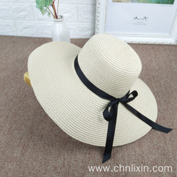 Women large bowtie plain styles straw hat