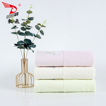 beautiful plain border embroidery logo bath towel