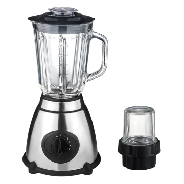 Electric food blender with glass jug