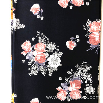 Navy Background With Colorful Flower Rayon Printed 45S