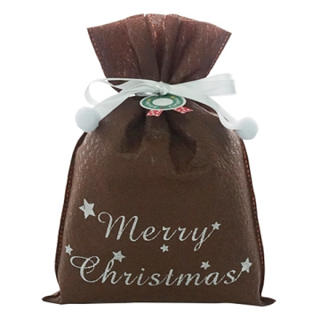 Brown Star Embossed Non-woven Christmas Drawstring Wrap Bag
